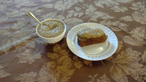 Molassey bread with applesauce on top